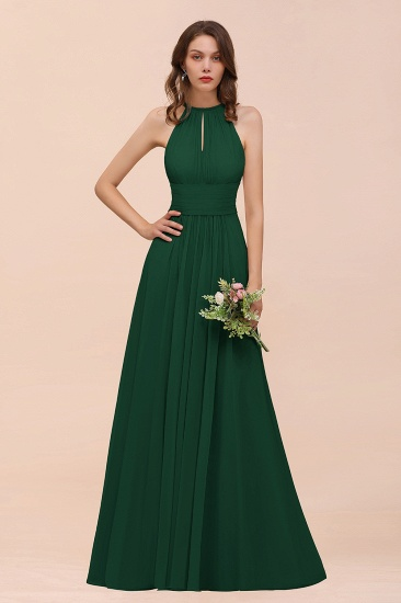 Elegant Chiffon Jewel Ruffle Champagne Affordable Bridesmaid Dress Online_31