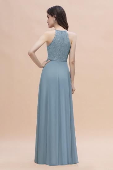 BMbridal Elegant Jewel Lace Appliques Dusty Blue Chiffon Bridesmaid Dress On Sale_3