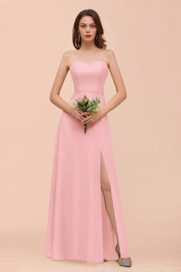 BMbridal Affordable Strapless Front Slit Long Dusty Sage Bridesmaid Dress_4
