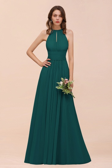 Elegant Chiffon Jewel Ruffle Champagne Affordable Bridesmaid Dress Online_33