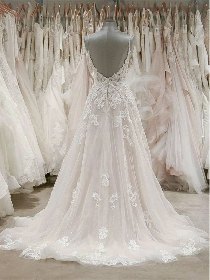 BMbridal Sexy Spaghetti Straps V-neck Tulle Wedding Dress Lace Appliques Ruffles Bridal Gowns On Sale_2