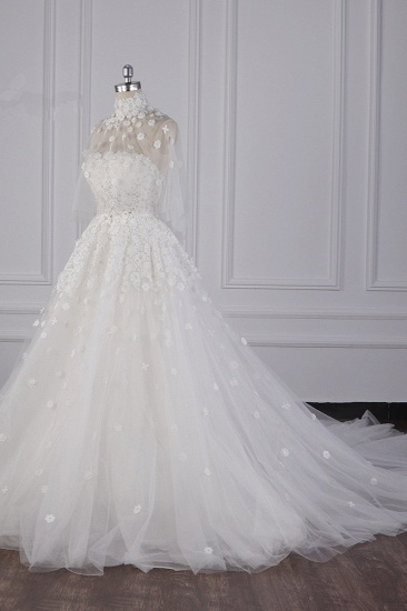 BMbridal Chic High-Neck Tulle Lace Wedding Dress Appliques Beadings Long Sleeves Bridal Gowns On Sale_4