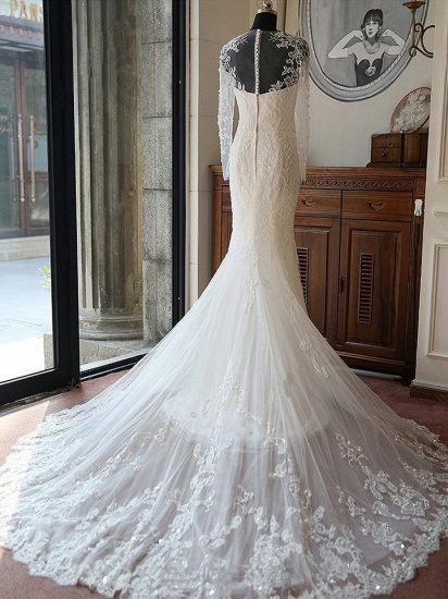 BMbridal Glamorous Jewel Long Sleeves Wedding Dress Tulle Appliques Beadings Bridal Gowns On Sale_2