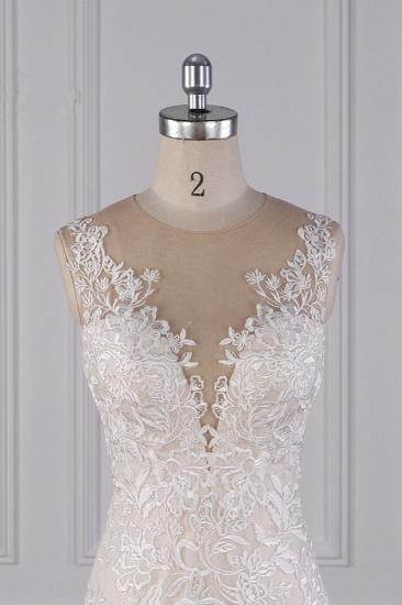 BMbridal Elegant Jewel Tulle Lace Wedding Dress Appliques Sleeveless Mermaid Bridal Gowns Online_5