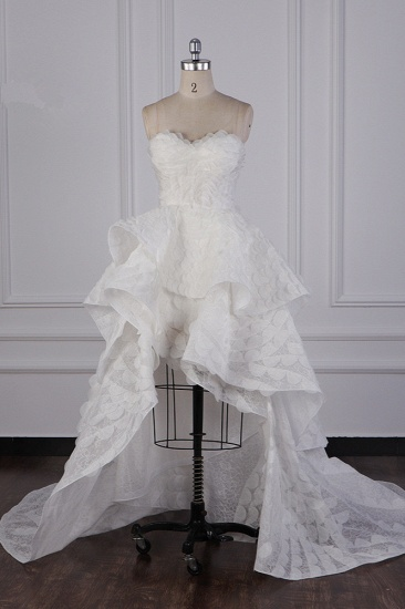 Chic Hi-Lo Strapless Tulle Wedding Dress Appliques Sleeveless Bridal Gowns Online