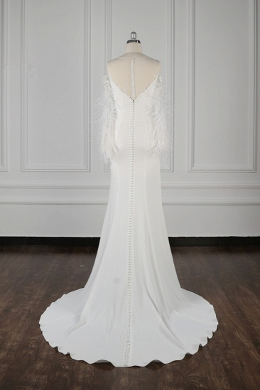 BMbridal Chic Jewel Sleeveless White Chiffon Wedding Dress Mermaid Appliques Bridal Gowns with Fur Onsale_3