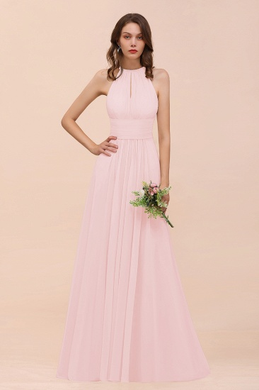Elegant Chiffon Jewel Ruffle Champagne Affordable Bridesmaid Dress Online_3