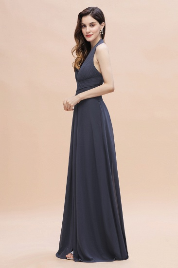 Gorgeous Halter Chiffon Ruffles Bridesmaid Dress with Front Slit Online_8