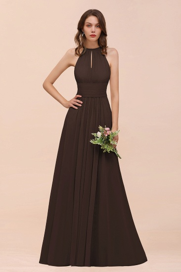 Elegant Chiffon Jewel Ruffle Champagne Affordable Bridesmaid Dress Online_11