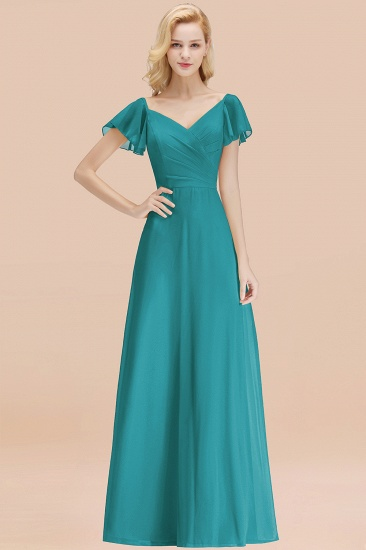 Elegent Short-Sleeve Long Bridesmaid Dress Online Yellow Chiffon Wedding Party Dress_32