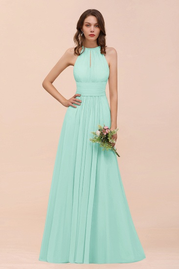 Elegant Chiffon Jewel Ruffle Champagne Affordable Bridesmaid Dress Online_36