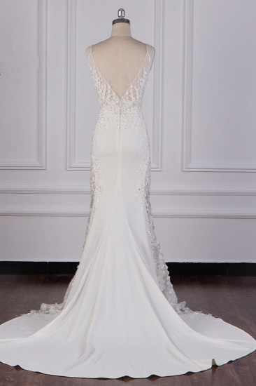 Glamorous Jewel Tulle Lace Wedding Dress Sleeveless Appliques Beadings Bridal Gowns Online_4