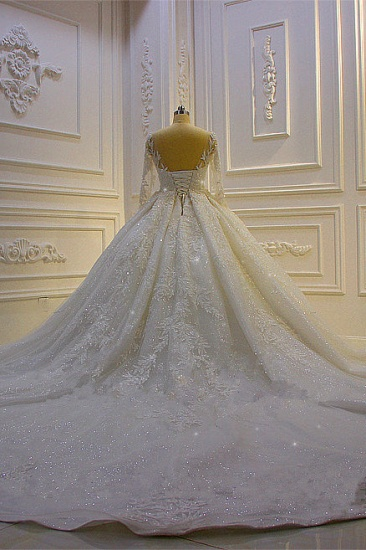 BMbridal Luxury Ball Gown Lace Appliques Beading Wedding Dress Long Sleeves Ruffles Bridal Gowns On Sale_5
