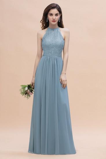 BMbridal Elegant Jewel Lace Appliques Dusty Blue Chiffon Bridesmaid Dress On Sale_5