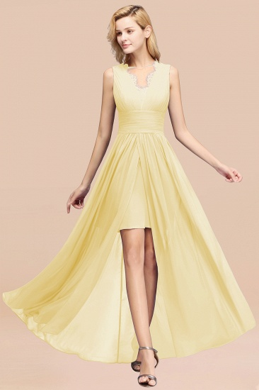 BMbridal Elegant Chiffon Lace Jewel Sleeveless Bridesmaid Dress with Ruffle_18