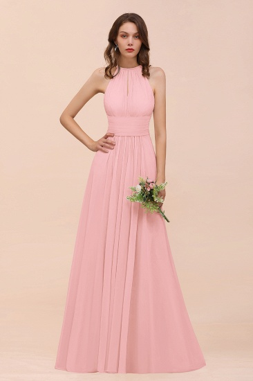 Elegant Chiffon Jewel Ruffle Champagne Affordable Bridesmaid Dress Online_4