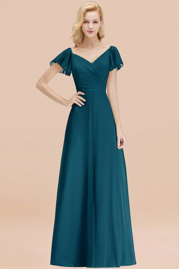 Elegent Short-Sleeve Long Bridesmaid Dress Online Yellow Chiffon Wedding Party Dress_27
