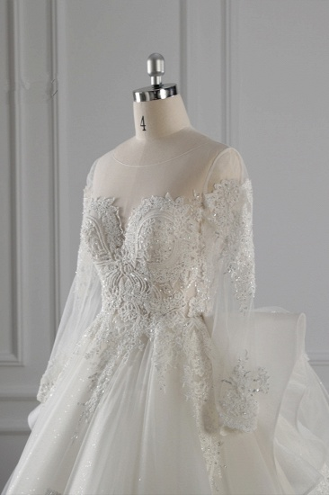 Gorgeous Jewel Lace Tulle Wedding Dress Long Sleeves Beadings Bridal Gowns On Sale_6