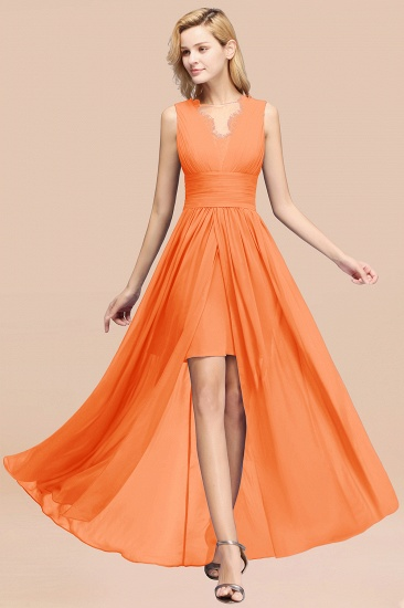 BMbridal Elegant Chiffon Lace Jewel Sleeveless Bridesmaid Dress with Ruffle_15