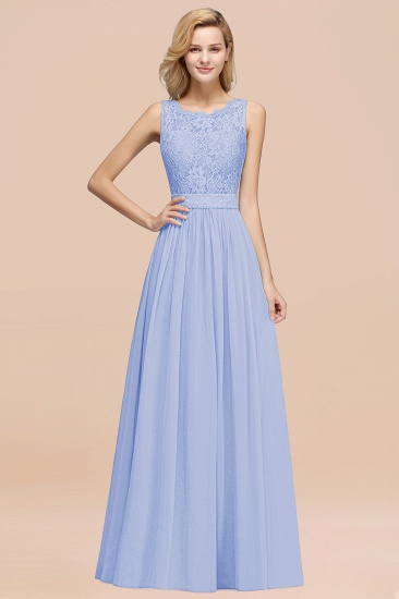 Elegant Chiffon Lace Scalloped Sleeveless Ruffle Bridesmaid Dresses_22