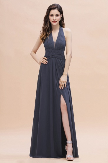 Gorgeous Halter Chiffon Ruffles Bridesmaid Dress with Front Slit Online