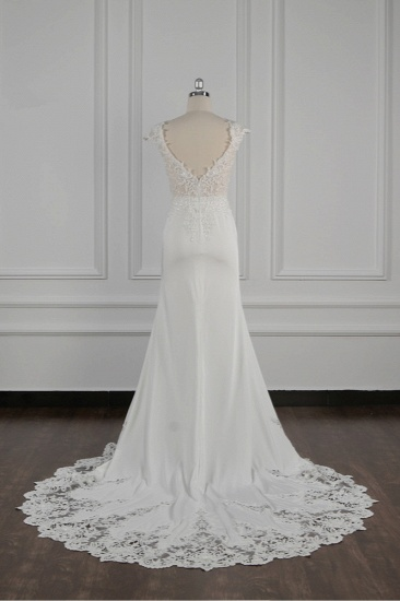 Elegant V-neck Chiffon Lace Wedding Dress Beadings Appliques Mermaid Bridal Gowns Online_3
