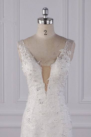 Gorgeous V-Neck Mermaid Lace Appliques Wedding Dress Sequined Sleeveless Bridal Gowns Online_5