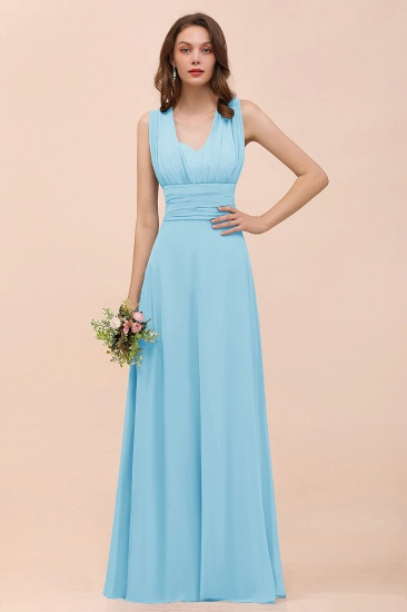 New Arrival Dusty Blue Ruched Long Convertible Bridesmaid Dresses_23