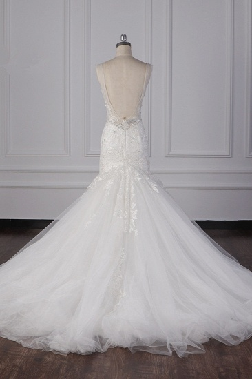 Gorgeous V-Neck Mermaid Lace Appliques Wedding Dress Sequined Sleeveless Bridal Gowns Online_3