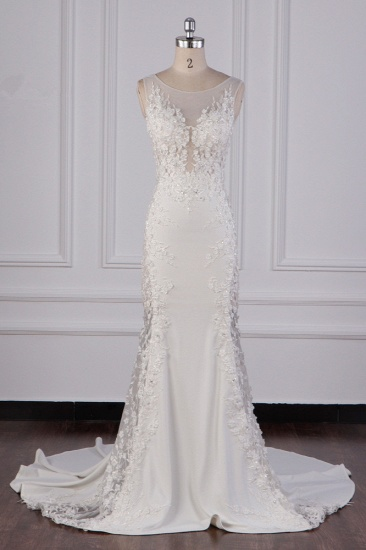 Glamorous Jewel Tulle Lace Wedding Dress Sleeveless Appliques Beadings Bridal Gowns Online_1