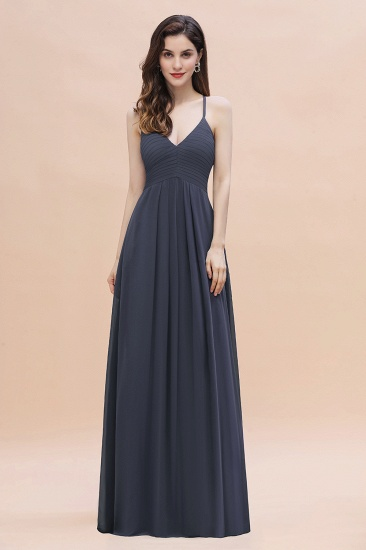 BMbridal Simple Spaghetti Straps Stormy Chiffon Bridesmaid Dress with Ruffles On Sale