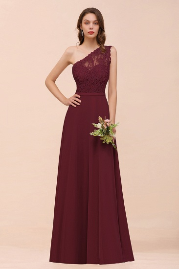 New Arrival Dusty Rose One Shoulder Lace Long Bridesmaid Dress_10