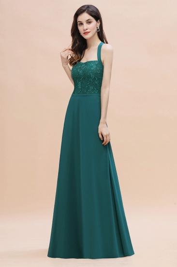 BMbridal Elegant Straps Peacock Chiffon Appliques Bridesmaid Dress Sleeveless On Sale_7