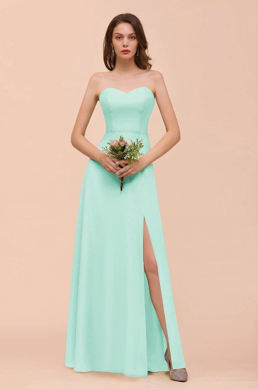 BMbridal Affordable Strapless Front Slit Long Dusty Sage Bridesmaid Dress_36