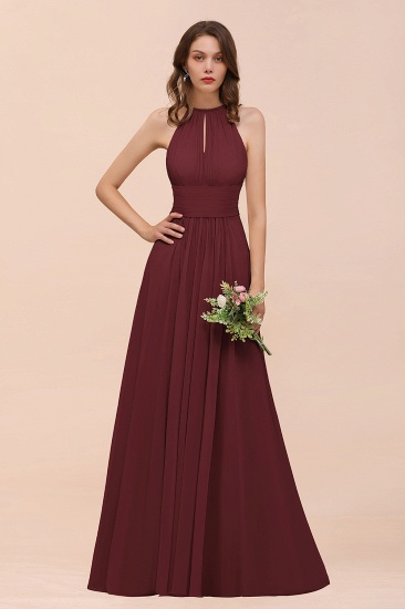 Elegant Chiffon Jewel Ruffle Champagne Affordable Bridesmaid Dress Online_10