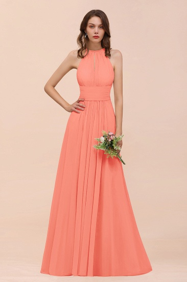 Elegant Chiffon Jewel Ruffle Champagne Affordable Bridesmaid Dress Online_45