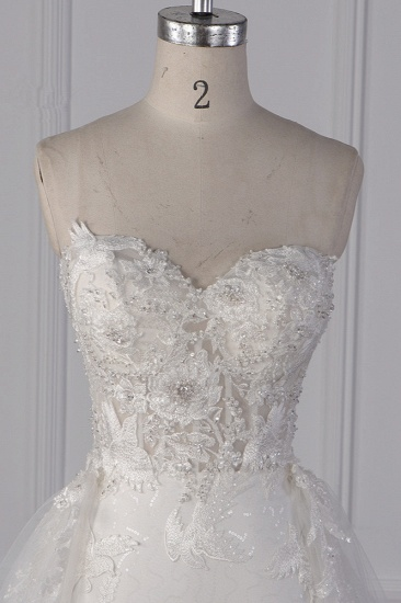 Stylish Strapless Tulle Lace Wedding Dress Sweetheart Appliques Bridal Gowns with Overskirt On Sale_4
