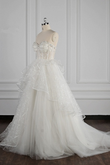 BMbridal Glamorous Ball Gown Strapless Beadings Wedding Dress Sequined Layers Tulle Bridal Gowns On Sale_4