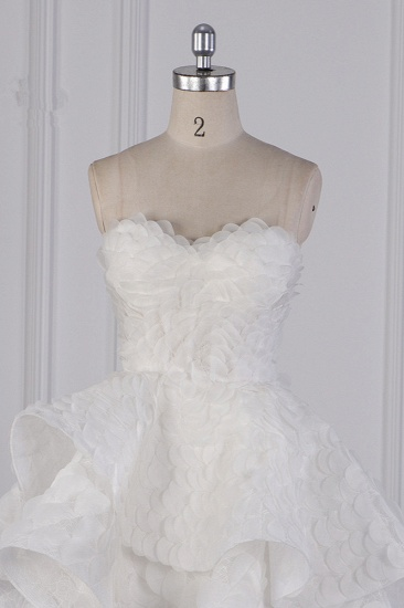 BMbridal Chic Hi-Lo Strapless Tulle Wedding Dress Appliques Sleeveless Bridal Gowns Online_5