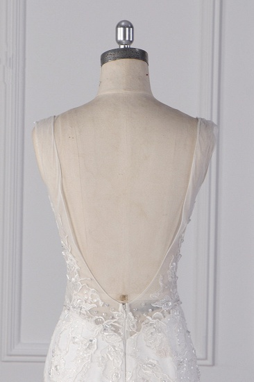 Gorgeous V-Neck Mermaid Lace Appliques Wedding Dress Sequined Sleeveless Bridal Gowns Online_7