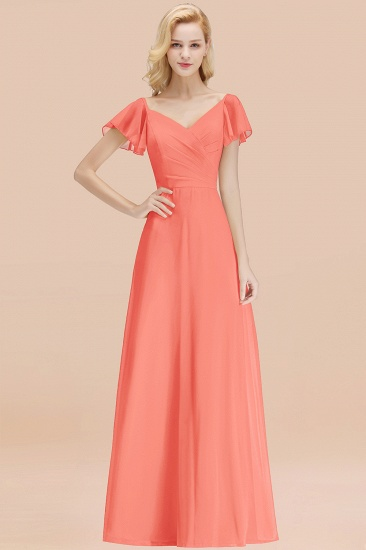 Elegent Short-Sleeve Long Bridesmaid Dress Online Yellow Chiffon Wedding Party Dress_45
