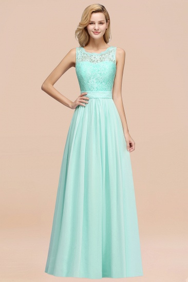 Elegant Chiffon Lace Scalloped Sleeveless Ruffle Bridesmaid Dresses_36