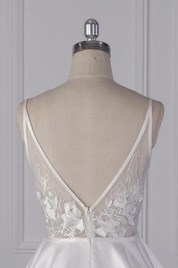 BMbridal Elegant Satin V-Neck Wedding Dress Lace Appliques Sleeveless Bridal Gowns On Sale_7