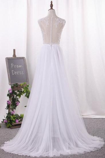BMbridal Elegant Jewel Tull Lace Wedding Dress Sleeveless Appliques Ruffles Bridal Gowns On Sale_3