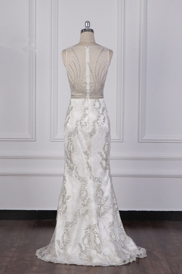 BMbridal Gorgeous Mermaid V-Neck Tulle Wedding Dress Sequined Bedaings Sleeveless Bridal Gowns On Sale_3