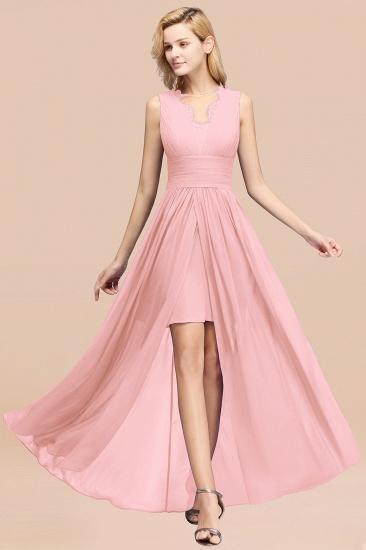 BMbridal Elegant Chiffon Lace Jewel Sleeveless Bridesmaid Dress with Ruffle_4