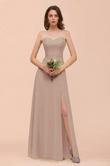 BMbridal Affordable Strapless Front Slit Long Dusty Sage Bridesmaid Dress_16