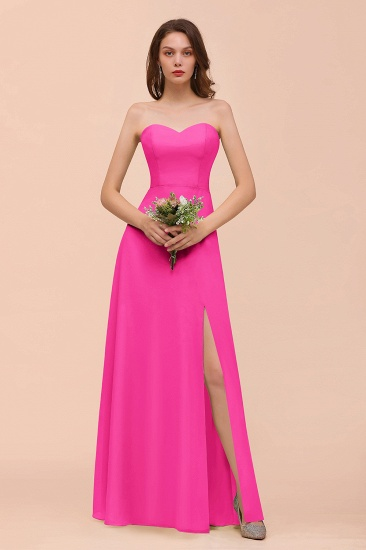 BMbridal Affordable Strapless Front Slit Long Dusty Sage Bridesmaid Dress_9