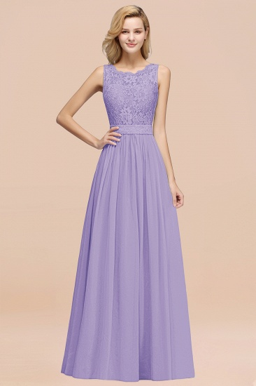 Elegant Chiffon Lace Scalloped Sleeveless Ruffle Bridesmaid Dresses_21