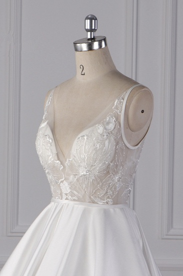 BMbridal Elegant Satin V-Neck Wedding Dress Lace Appliques Sleeveless Bridal Gowns On Sale_6